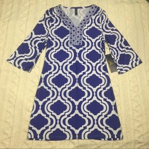 White mark couture collection blue print dress XL